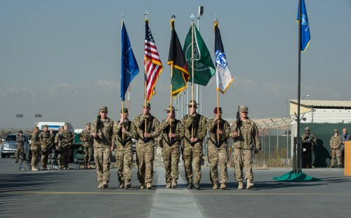 ISAF Joint Command and XVIII Airborne Corps Colors lowering and Casing Ceremony