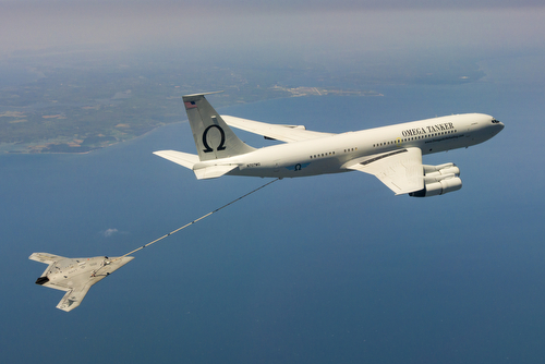 US Navy's X-47B, AV-2, Bureau # 168064, of Air Test and Evaluation Squadron Two Three (VX-23) successfully complete Air-to-Air Refueling (AAR) with the K-707 Omega Tanker over the Chesapeake Bay on 22 April 2015.  VX-23 is part of the Naval Test Wing Atlantic in Naval Air Station Patuxent River, MD.  The Mission Operators of the X-47B are Northrop Grumman Corporation's Mr. Corey Lazare and Mr. Dave Fulton. Pilots of the Omega Aerial Refueling Services are Mr. Tom Straiton and Mr. Dennis Warren. (U.S. Navy Photo by Liz Wolter)