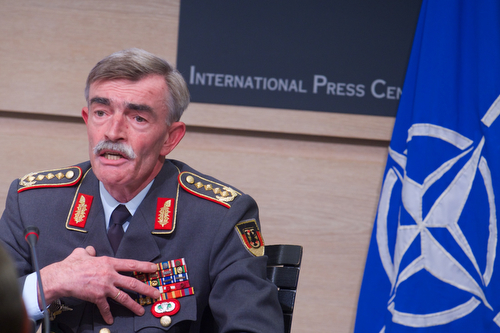 General Hans-Lothar Domrose, Commander JFC Brunssum during the joint press point with Lieutenant General Phil Jones, Chief of Staff Allied Command Transformation and NATO Spokesperson, Oana Lungescu