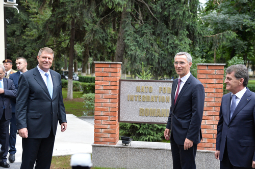 NATO Secretary General Jens Stoltenberg at the headquarters of the NATO Forces Integration Unit Romania