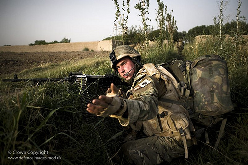 Soldier from 1st Battalion The Duke of Lancaster's Regiment During a Firefight with Afghan Insurgents