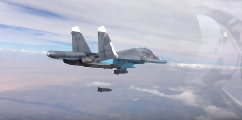 RAQQA/SYRIA 09oct2015 - Russian Su-34 drops KAB-500 C PGM screenshot from MoD Russia video https://youtu.be/pBEkjj9PL5I
