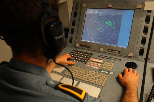 160227-DEUN-B-001 AEGEAN SEA - SNMG2 flagship FGS BONN radar operator while operating its console during NATO Aegean Sea missing. February 27, 2016. The units of Standing NATO Maritime Group 2 (SNMG2) are patrolling as part of NATO's participation in the international efforts to cut the lines of illegal trafficking and illegal migration in the Aegean Sea. Credit: German Navy photo by Photographer PO2/OR-5 Steve Back (released)