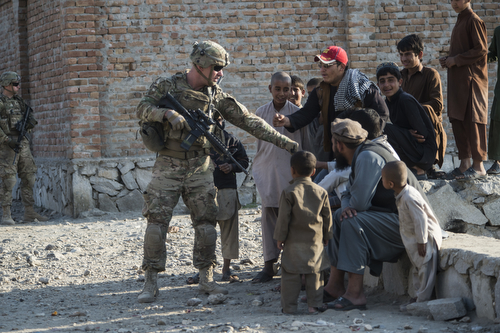 US Army and Afghan National Army Soldiers Conduct Patrol in Nangahar Province