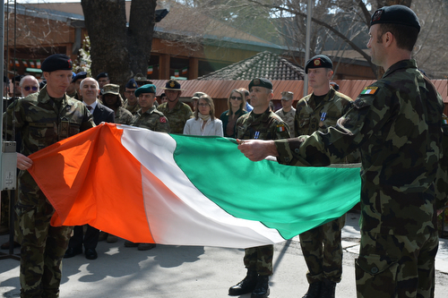 Irish flag lowering ceremony