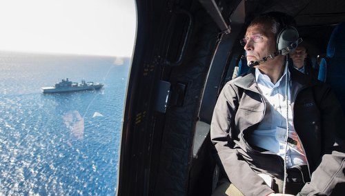 NATO Secretary General Jens Stoltenberg on his way to SNMG2 Flagship Bonn