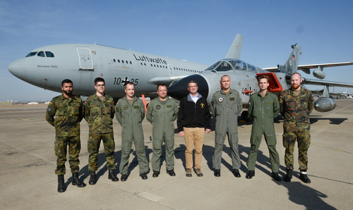 Secretary of defense took a photo with coalition troops on Incirlik Air Base, Turkey