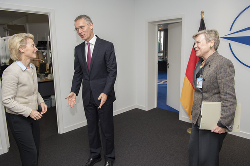 Meetings of the NATO Defence Ministers at NATO Headquarters in Brussels - Bilateral meeting between NATO Secretary General and the Minister of Defence of Germany